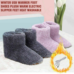 Winter USB Warmer Foot Shoe Plush Warm Electric Slipper Feet Heated Washable Warm Fluffy Rechargeable Booties New Arrival 2020