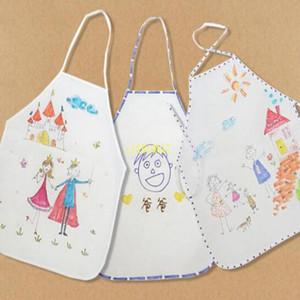 어린이 앞치마 DIY는 수도꼭지가 음주 겉옷 앞치마를 먹어 페인트 요리 처분 할 수있는 빈 흰색 어린이 앞치마 주방 회화