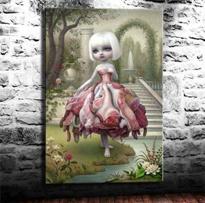 (Ungerahmt / gerahmt) Mark Ryden Meat Dress, HD gedruckt Ölgemälde Home Wall Decor Kunst auf Leinwand Spielkarten 24 x 36.
