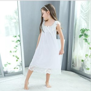Girls Pajama Summer White Lace Sleeveless Girls Nightgown European Fashion Sexy Princess Sleepwear Sweet Baby Nightdress Y200704