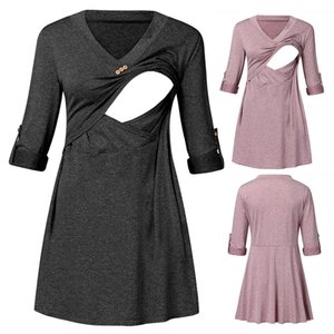Maternity Solid V Neck Tees Clothes Women Rolled Up Sleeve Tops For Pregnant Loose Nursing Shirts Tops Breastfeeding Maternity
