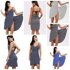 Ванна полосатое полотенце халат пляжное платье быстрая сухая стирка одежда Wrap женщины без рукавов полотенца халат de plage пляжное платье праздник L-JJA2421