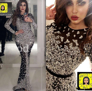 Yousef Aljasmi preto de manga longa sereia Vestidos 2020 frisada Formal desgaste do partido Luxo árabe Dubai Evening vestidos de robe de soiree