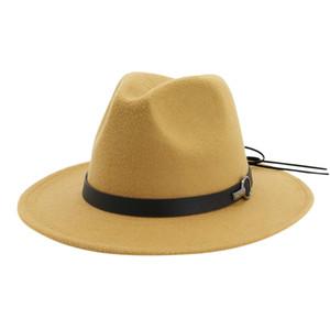Fedora Hats Men & Women Vintage Wide Brim Hat with Belt Buckle Adjustable Outbacks Hats Fedoras Chapeau Sombrero Mujer 2019#W5