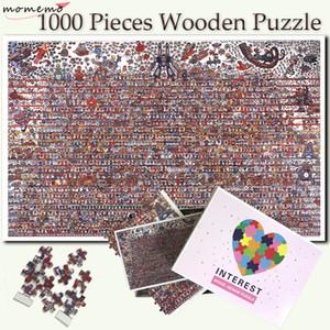 어린이 Y200421에 대한 MOMEMO 만화 캐릭터 컬렉션 퍼즐 1000 개 조각 나무 성인 직소 퍼즐 엔터테인먼트 퍼즐 게임 장난감