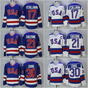 1980 Jersey olympique de hockey USA 21 Mike Eruzione 30 JIM CRAIG 17 Jack O'Callahan Bleu Blanc Vintage Cousu Maillots C Patch