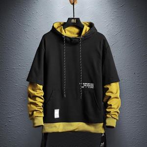 Contrasto Designer Colore con cappuccio Felpe Mens Hip Hop del pullover Streetwear modo casuale abbigliamento comodo con cappuccio nero
