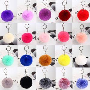 Keychain Soft Faux Rex Rabbit Fur Ball Car Keyring Pompom Key Chains Key holder Women Bag Pendant Jewelry