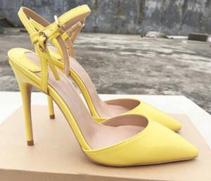 2019 nuevo estilo Sandalias de color amarillo limón 10cm de gran tamaño 44 Cusp Zapatos individuales Fondo rojo para mujer Zapatos de tacón alto Vestido de charol de tacón fino