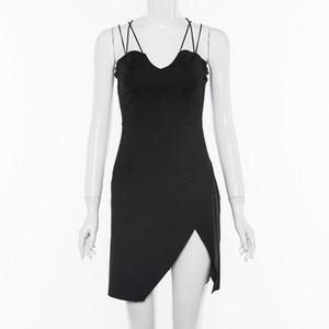 Apri Indietro calda sexy dei vestiti delle donne di vendita V-Neck Sling Dresses Abiti neri Slim Moda femminile Abbigliamento