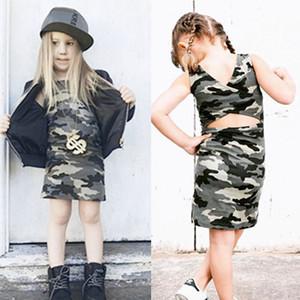 Kinder-Baby-Camouflage-Kleid-Sommer ärmel-Kind-Mädchen-beiläufige lose Minikleider Tops Mädchen 2020 Neu