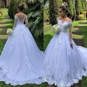 2020 빈티지 긴 소매 푹신한 웨딩 드레스 서양 정원 라인 쉬어 어깨 Appliqued Ruched 긴 신부 웨딩 드레스