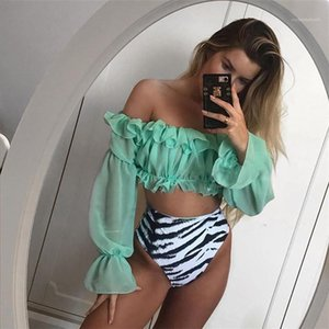 High Elasticity Sets Womens Sexy Chiffon 2pc Swimwears Summer Designer Slash Neck Ruffle Long Sleeve Snake Skin Print Bikinis Females