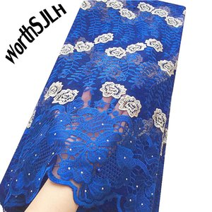 Blue African Lace Fabric 2020 Embroidered Nigerian Laces Fabric Bridal High Quality French Tulle Lace Fabric For Women Dress