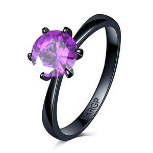 joyería fina de circón anillo de oro llena del partido del diamante negro sello CZ 18KRGP rojo colorido anillo verde púrpura de cristal de cumpleaños de las mujeres de los ladys