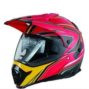 새로운 뜨거운 붉은 유니버셜 더블 렌즈 풀 페이스 크로스 헬멧 성격 패턴 오토바이 헬멧 XS S M L XL