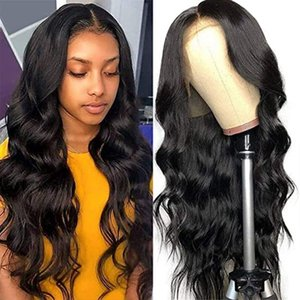 Hot Sale Natural Long Body Wave Black Glueless Synthetic Lace Front Wigs For Black Women High Temperature Fiber Hair 180% Density