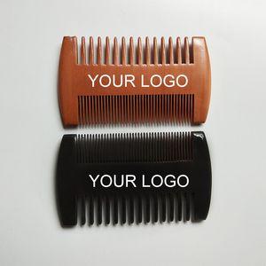 Kostenlose benutzerdefinierte logo feine grobe zähne doppelseiten holz breite kämme holz haarkamm duale seiten männer bartkamm