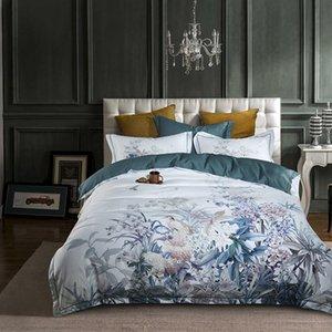 유럽 이집트 목화 침구 소프트 새틴 침구 꽃 목가적 인 이불 커버 pillowcases bedspreads 4pcs 세트
