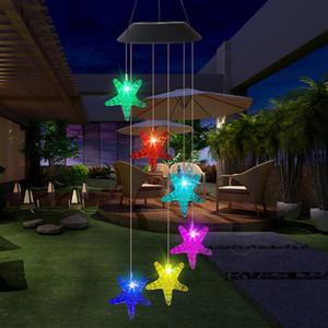Açık LED Güneş Dize Lambası Romantik Dilek Şişe Denizyıldızı Rüzgar Chime Asılı Işık Ev Bahçe Veranda Yard Parti Düğün Dekor Için