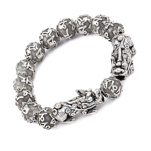 Antique Silver Wealth Pixiu pulsera Six Word Mantra Beads Buddha Pulsera Feng Shui Luck Jewelry