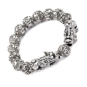Argent antique de richesse Pixiu Bracelet Six Word Mantra Bouddha Perles Bracelet Feng Shui Chance Bijoux