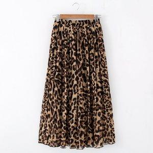 Casual Stinlicher Mulheres Moda Summer Beach Leopard Chiffon Max saia plissada saia longa senhoras cintura elástica saia longa Y200704