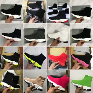 2020 nuevo diseñador zapatillas de deporte de velocidad entrenador del calcetín forman los zapatos de Triple Negro Verde Rojo Botas plana Hombres Mujeres Zapatos Casual deporte con la bolsa para polvo