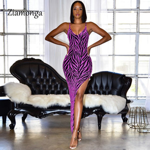 Ziamonga Gold Blue Purple Ladies Glitter Dresses For Women Elegant Sexy V-Neck Sequin Cocktail Party Slim Long Dress Vestidos MX200518