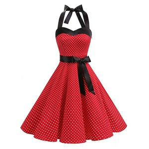Sexy Halter Party Sexy Dress 2019 Retro Polka Dot Hepburn Vintage Pin Up Rockabilly Dresses Robe Plus Size Elegant Midi Dress
