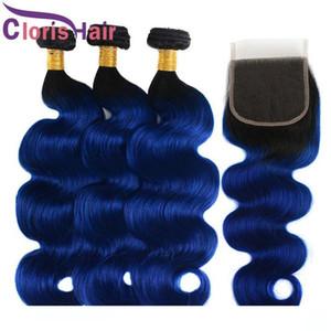 Dunkle Wurzeln 1B Blau peruanische Jungfrau-Körper-Wellen-Bundles mit Spitze Schließung Farbige Wellenförmige Haarverlängerungen Günstige Blau Ombre Weaves Closure