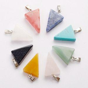 Charms liberi di triangolo forma naturale pietra perline di cristallo mix colore collana pendenti gioielli fai da te fare orecchini per regali di festa all'ingrosso