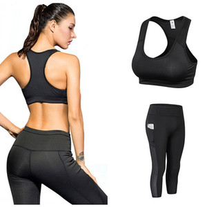 Pantalons de yoga pour femmes 3/4 Sportswear Ensemble Maillot Survêtement Fitness Gym Yoga Hauts Sport Leggings Soutien-Gorge Sexy Ladies Fitness Gym Running Suit Vêtements
