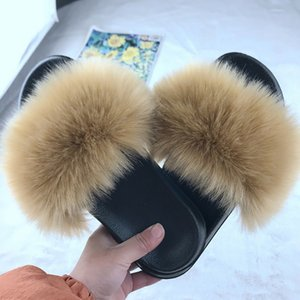 Faux Fur Slippers Women Slides Indoor Home House Furry Fluffy Non-slip Platform Shoes Outdoor Beach Sandals Ladies Size 36-45