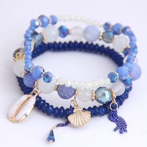 (3pcs set ) Multilayer Bohemia Beads Bracelets For Women Bijoux Sea shell Charm Beaded Bracelet Femme Boho Jewelry