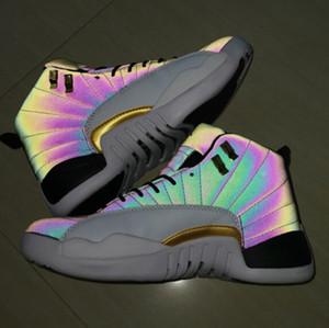 2019 Jumpman XII 12 12s Chameleon 3M Reflect Flash Of Light Zapatillas de baloncesto para Hombre Deportes de alta calidad Zapatillas deportivas para hombre 7-13