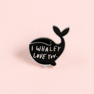 Симпатичные животные Pins Whale Я тебя люблю Эмаль Pins Мультфильм Брошки Значки джинсовой одежды Сумка Pins Подарки для друзей