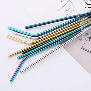 304 réutilisable en acier inoxydable Drianking Straws robuste Bent droite coloré Pailles en métal avec le nettoyant Pinceau Accessoires de cuisine bateau gratuit