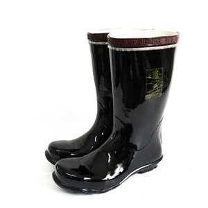 High rubber men's work shoes with reflective warning strip black Miner's Boots with boot tube knee length Mining boots with insulation