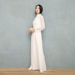 2019 Vietnam Ao Dai Sólido Branco vestido de chiffon Perspectiva para a mulher chinesa Cheongsams completo manga Feminino vestido oriental