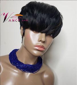 VanceHair Máquina completa Peluca 150% Densidad Corta pelo humano Pixie Cut Pelucas en capas Pelucas de Remy Brasileño para mujer