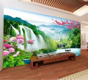 ◆ фото обои 3D современный телевизор фон гостиная спальня карта мира оригинальный пейзаж водопад обои