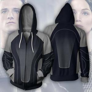 Yeni Moda 3D Baskılı Film Açlık Oyunları Kazak Fermuarlı Cebi Hoodies IK03