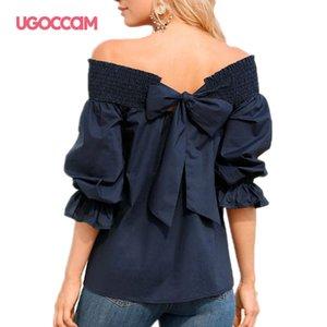 UGOCCAM Bow Tops Street Style Folds de Slash Neck luva Lantern Ruffles doce T-shirt Quarter Três Sleeve Verão Tees Casual