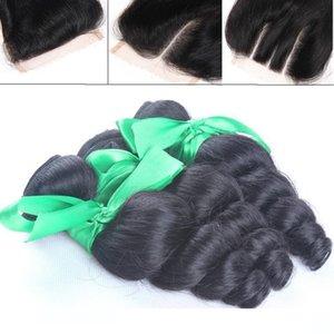 Bir İşlenmemiş ham Hint Gevşek Kıvırcık Dalga İnsan Saç Dokuma ile Closures Ucuz Gevşek Bukleler Paketler Hint Remi Atkı + Dantel Kapanış