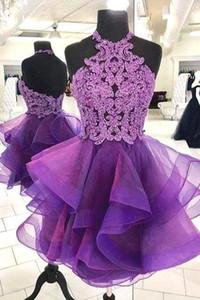 Элегантный Фиолетовый Холтер органзы Короткие Homecoming платье 2020 кружева аппликация бисером Короткие вечерние платья выпускного вечера