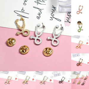 2019 Fashion Fun sveglio del fumetto dello smalto Piercing Spilla Stetoscopio Pins Collo con revers accessori gioielli regali 1pcs
