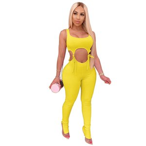 High Elastic Ribbed Lace Up Tie Two Piece Set Asymmetrical Tank Crop Top Pencil Pants Leggings Hollow Out Jumpsuit