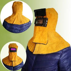 Freeshipping Chefe Wear Xaile Couro Welding Helmet máscara protetora flip isolamento respingo Prevenção de alta temperatura Resistência