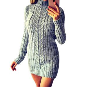 nouvelle inscription hiver 2019 pull femme Kintting col haut à manches longues torsion mince sections longues de la mode des femmes pull Kintting tops